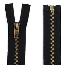Black Antique Brass Metal Open Ended Zip